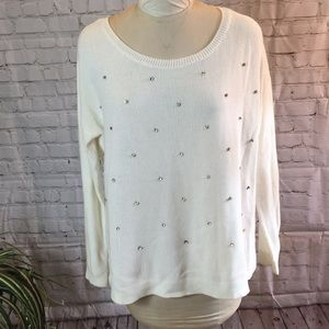 Apt 9 over-size cream sweater w crystals. Size L